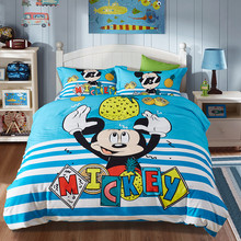 Disney mickey bed linens set blue cartoon Duvet Cover set with Flat Sheet Single Queen Sizes mickey bedding set for comforter(China)