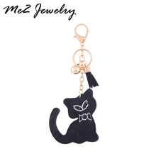 Hot sale Tassel Key Ring Pendant Rhinestone Cat Keychain Wholesale Women Gift For Bag Buckle Free Shipping