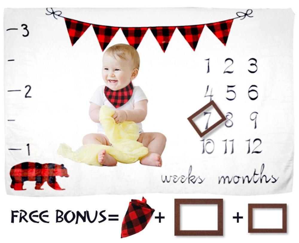 Couvertures bébé nouveau-né bébé jalon couverture ours doux polaire bébé couverture photographie fond Prop pour nouveau-né spectacle cadeau