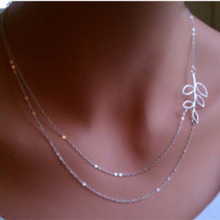 NK725 New Collares Multilayer Silver Plated Charm Chain Leaf Clavicle Necklace For Women Jewelry Statement Girls Gifts
