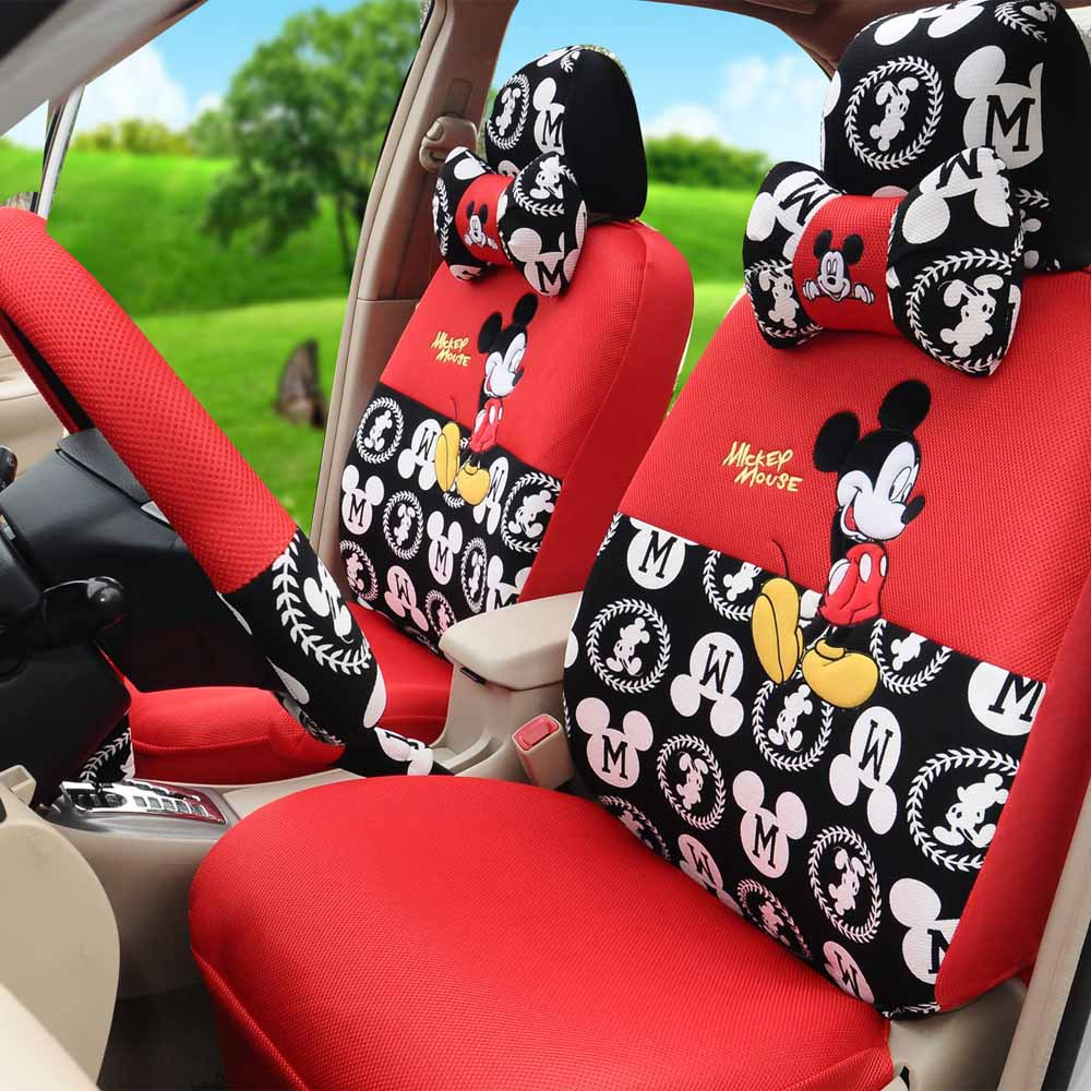 Fashion Cartoon Mouse Car Seat Covers 1 Set Red Black Ice