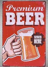1 pc Premium beer served here ice bar on tap Tin Plate Sign wall plaques man cave Decoration Dropshipping Poster metal