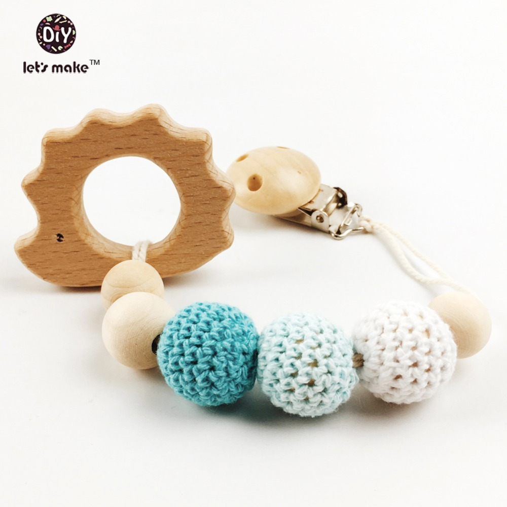 Let's make Blue Pacifier Clip Holder with Hedgehog Shaped Pendant  Neutral color  for teething baby - Baby shower gift