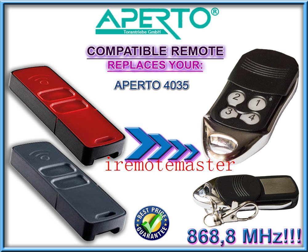 APERTO 4035 replacement remote control 868,8MHZ DHL free shipping