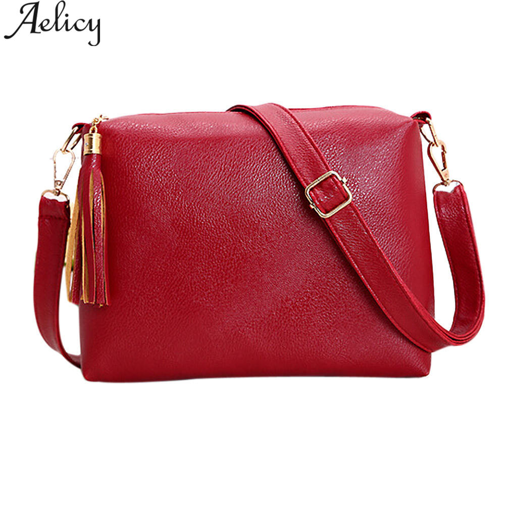 Aelicy High Quality Leather Women Messenger Bags Tassel Crossbody Bag Female Shoulder Bags For Women Clutch Small Handbags