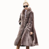 Wool Jacket Winter Coat Women Clothes 2018 Real Fur Coat Double faced Fur Fox Fur Collar Sheep Shearling Fur Long Coats ZT857