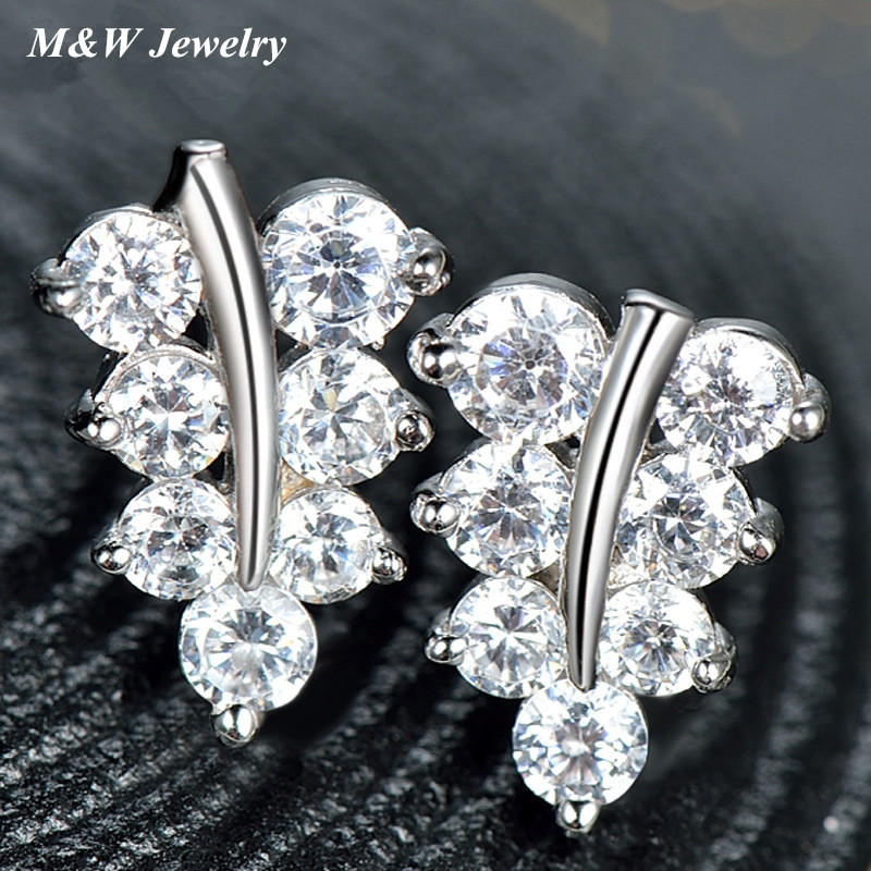 M&W hot new S925 sterling silver maple leaf fashion simple temperament earrings silver factory direct M&WS1795