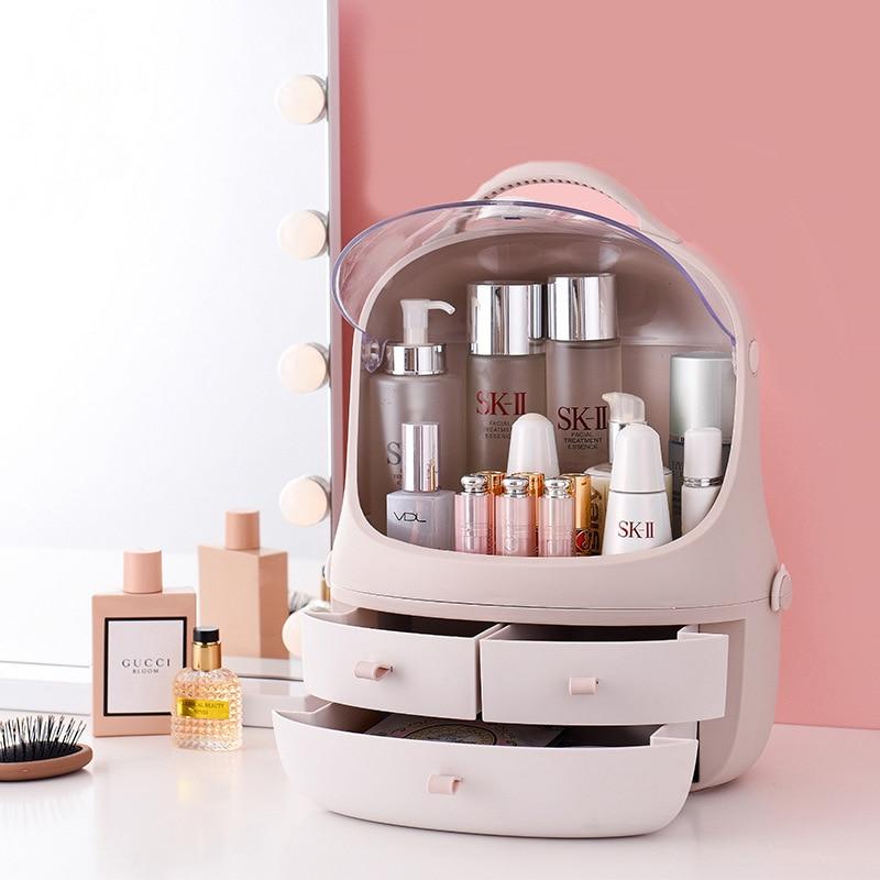 Plastique cosmétique tiroir maquillage organisateur mignon pingouin maquillage boîte de rangement tiroir conteneur bureau divers mallette de rangement