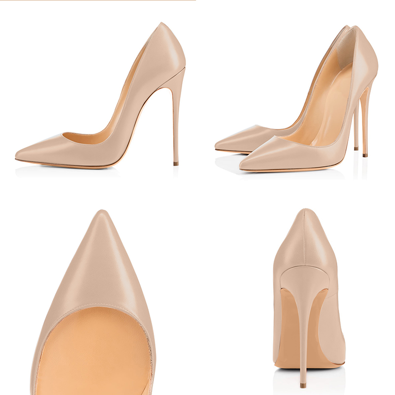 Top quality Women Pumps Pointed Toe and Thin Heels Leather Shoes Plus US Size 5~15