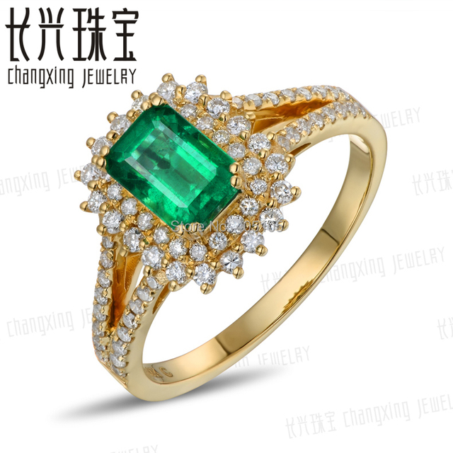 18k Yellow Gold 0 88ct Colombian Emerald Diamond Engagement Ring