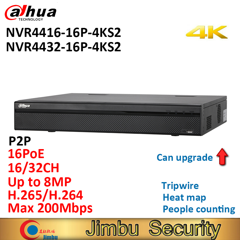 Dahua P2P NVR recorder NVR4416-16P-4KS2 NVR4432-16P-4KS2 16Ch 32CH people counting 1.5U H.265 4K 16PoE ports 8MP can upgrade dahua nvr 4k nvr5416 16p 4ks2 nvr5432 16p 4ks2 psp poe video recorder 16poe ports 16ch 32ch h 265 h 264 people countiing ivs dvr