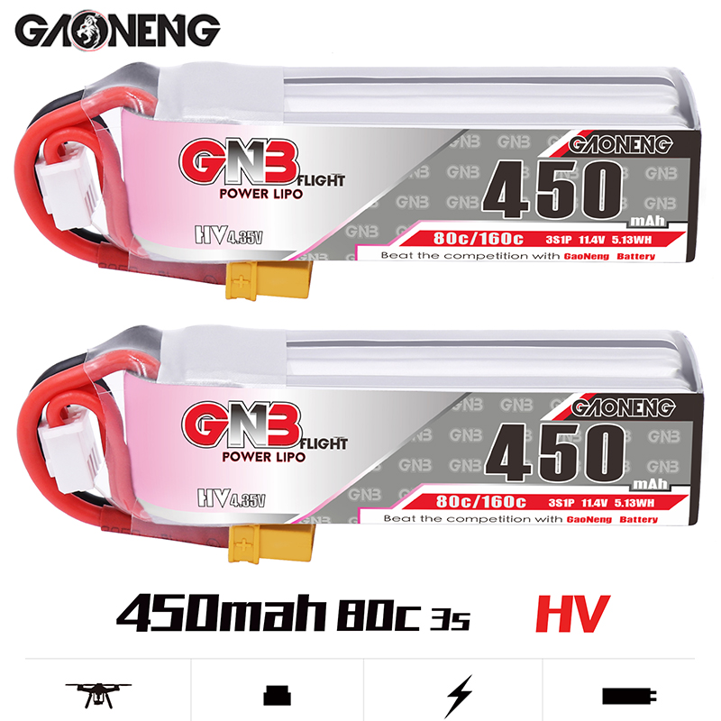 2 uds Gaoneng GNB 450MAH 3S 80C HV 11,4 V Lipo batería XT30 enchufe para iFlight CineBee interior Cine Whoop BetaFPV RC Drone Quadcopter