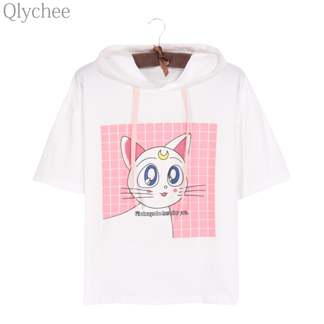 Qlychee Японии аниме Сейлор Мун белая футболка Luna Кот уха с капюшоном футболка с коротким рукавом мультфильм печати Повседневное Топ Футболка для Для женщин