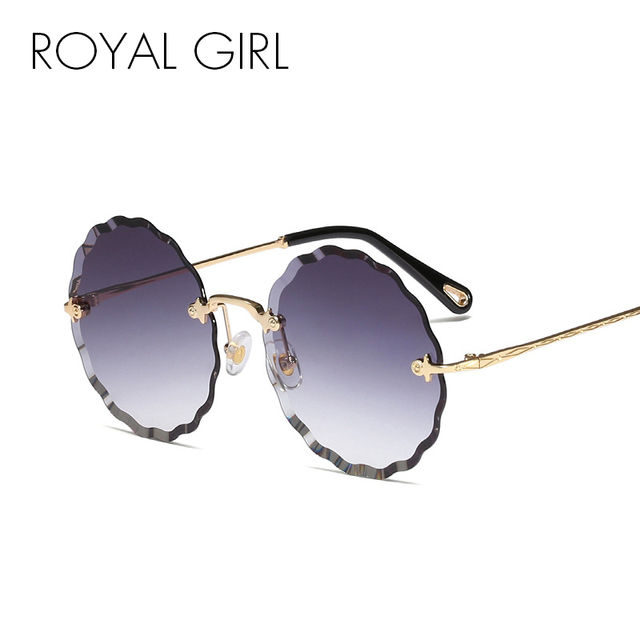 6237c9d42ce ROYAL GIRL Round Sunglasses Women New Fashion Rimless Trimming Sun Glasses  Female Brand Blue Pink Gradient Oculos UV400 SS039
