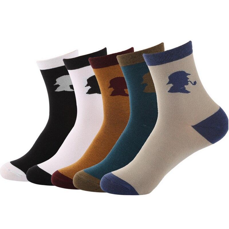 autumn winter fashion tobacco pipe patterns men cotton socks male funny socks 5pairs/lot