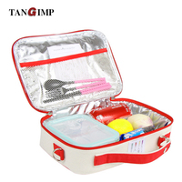 2016 Portable Insulated Cotton Linen Lunch Bags Butterfly Birds Thermal Food Picnic Bags For Women Kids