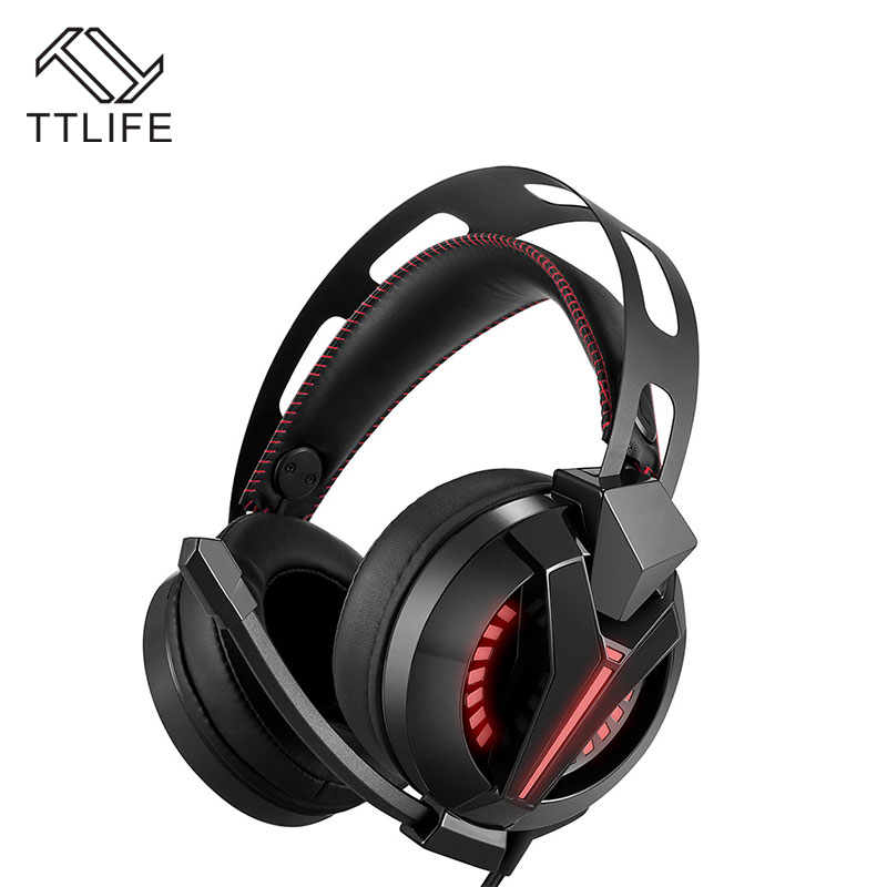 ФОТО TTLIFE M180 Wired Earphone Professional 3.5mm Game Headphone Over-Ear PC Gamer Headset With Microphone LED Light For Computer