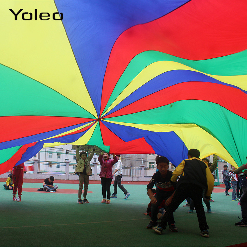 2M/3M/3.6M/5M Rainbow Umbrella Parachute Toy Kids Sport Outdoor Games Jump-Sack Ballute Play Teamwork Game Toy For Kids Gift