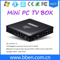 Ship By Russian Bben Mini Computer Mn11 Z3850 Quad Core 4G RAM 64G EMMC ROM Mini PC Windows10 Lan TV box USB3.0 WIFI desktop