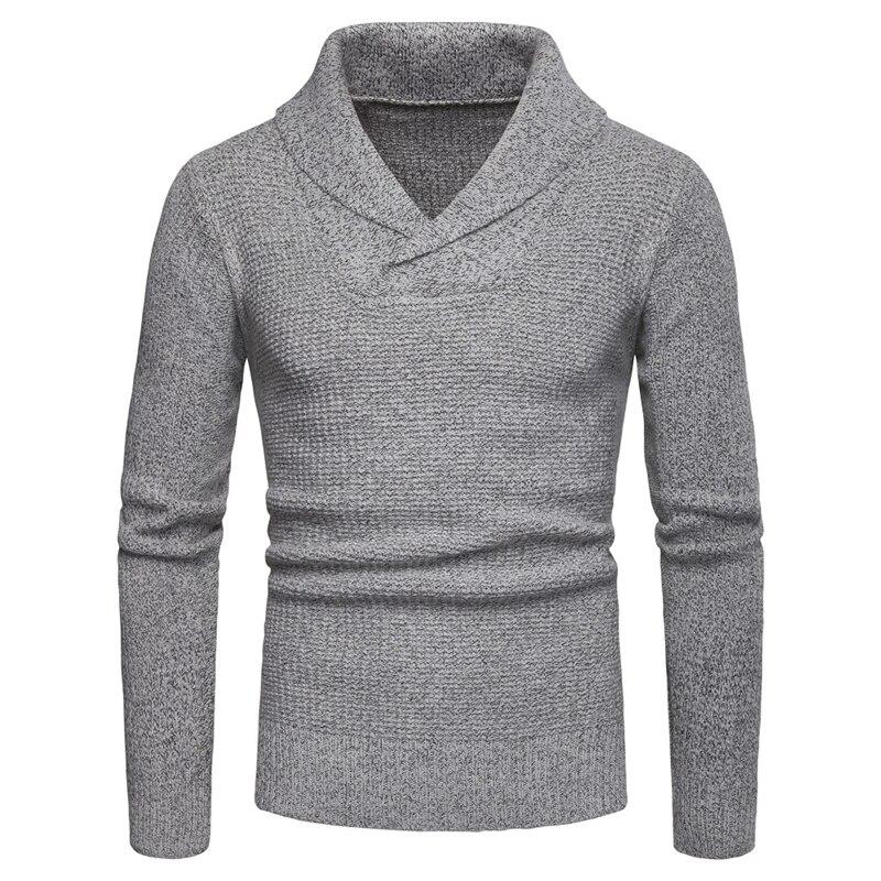 Gray Men Sweater Long Sleeve Lapel Pullover Sweater Men Asian Size S M L XL XXL XXXL  Mens Sweaters 2019