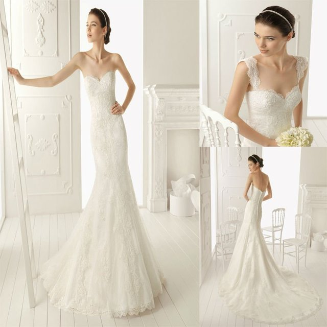 Stunning Sweetheart Removable Straps Mermaid Chapel Train Lace Wedding Dresses