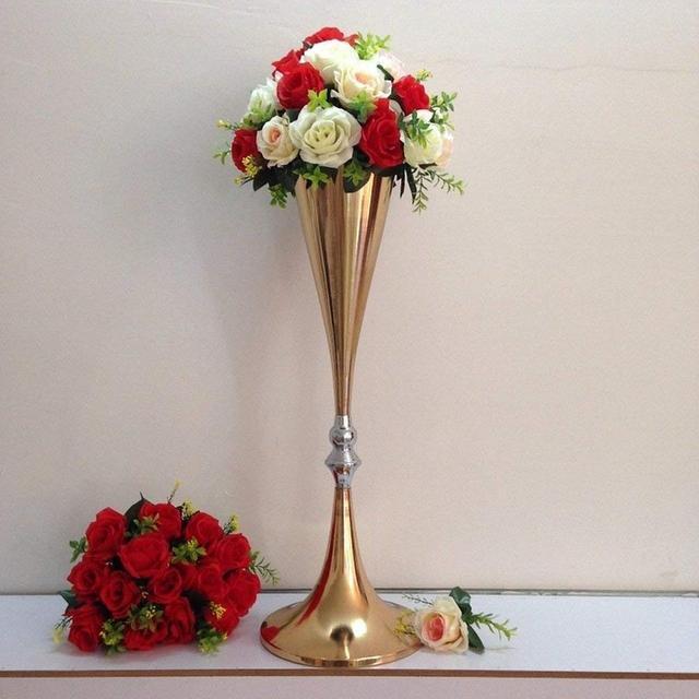 276 Inches Tall Metal Flower Vase Gold Flower Holder For Wedding
