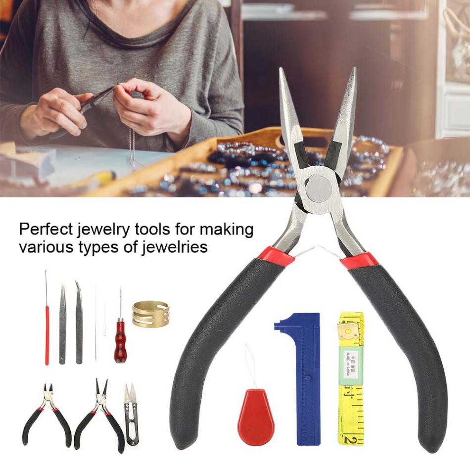 14Pcs Metal Jeweler Pliers Tool Jewelry Making Tools Kit Set Round Needles