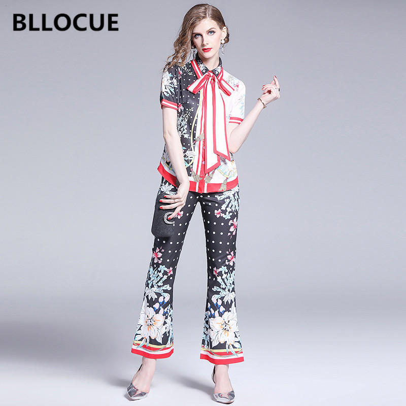 BLLOCUE 2019 Summer Designer Runway Suit Set Women Flower Print Bow Turn Down Collar Shirt Top