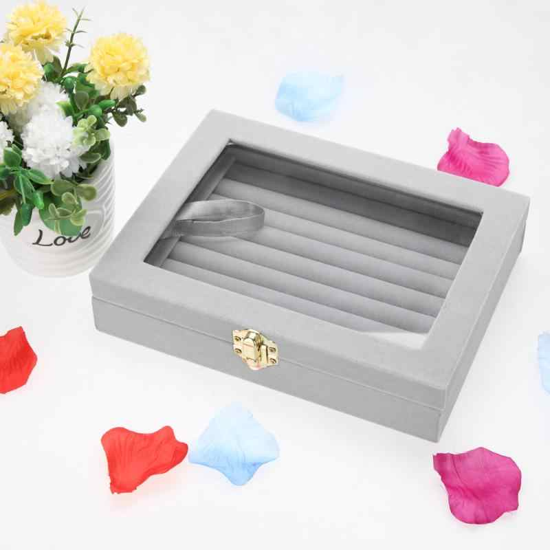New 8 Booths/2 Layer Rotary Velvet Gray Carrying Case Clear Glass Lid Jewelry Ring Display Tray Holder Storage Box Organizer