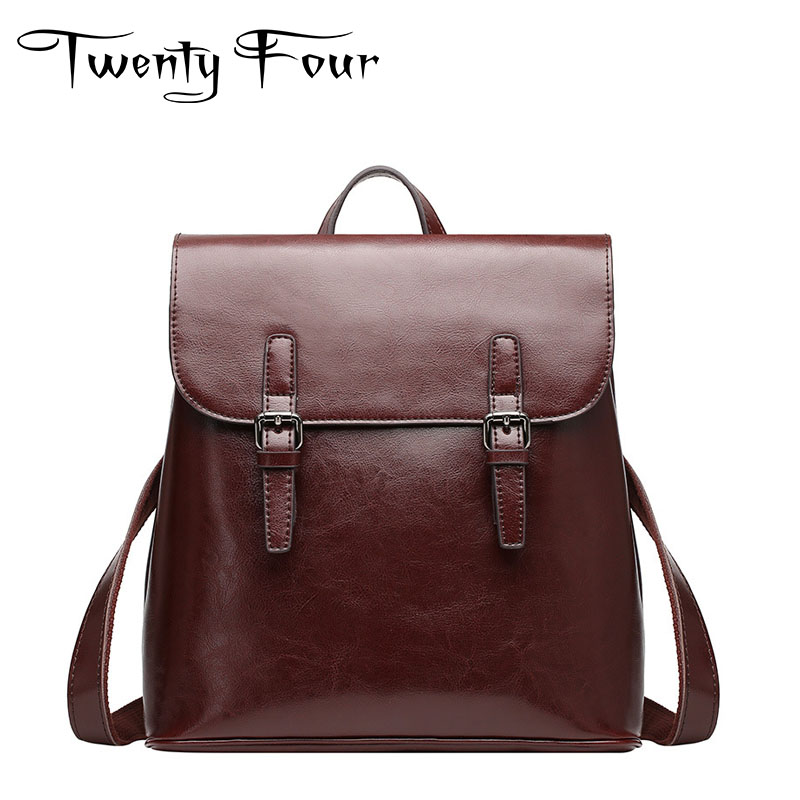 Twenty-four Genuine Leather Female Backpacks Vintage Style Solid Bags Simple Designer Girls School Bag Ladies Backpack Mochilas new brand designer women fashion backpacks simple koran style school for teenager girls ladies shoulder bags black