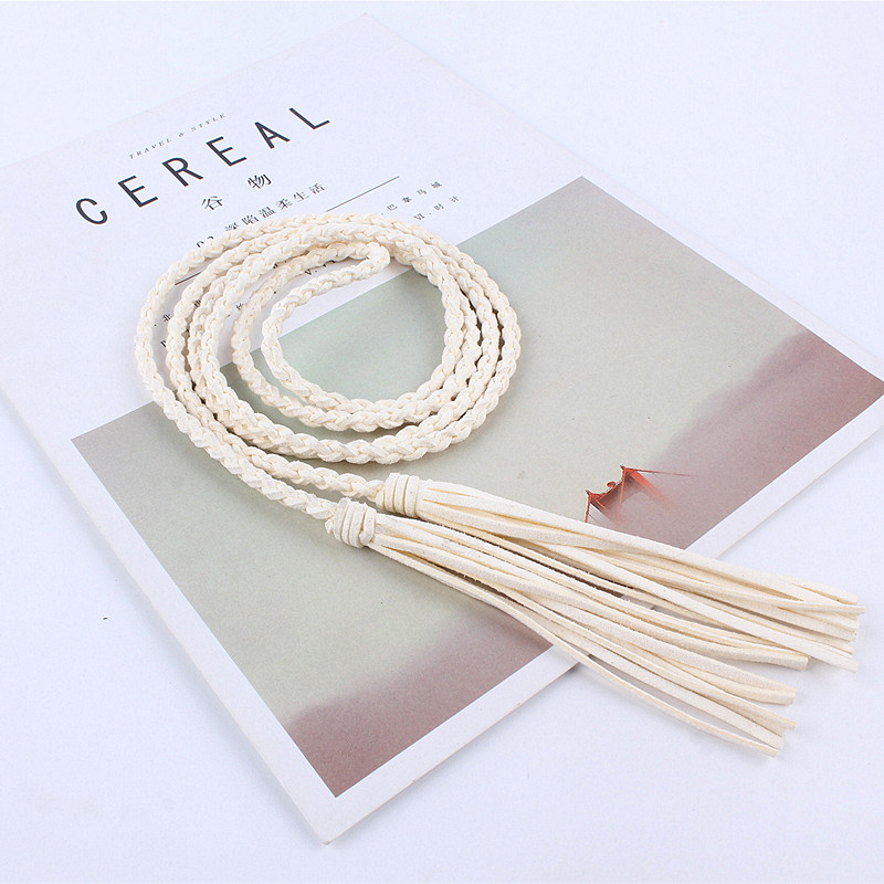 fashion women waist tassel Braided Twist weaving   belt   knitted decorated rope for dresses shirt
