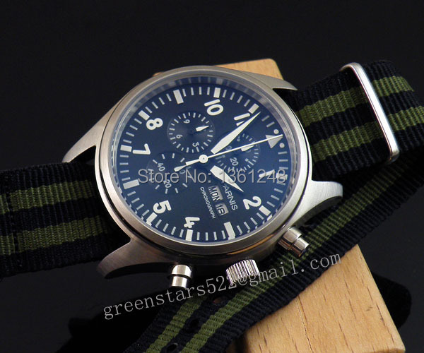 42mm parnis black dial day date quartz Full chronograph heavy nylon strap mens watch 21F цена и фото