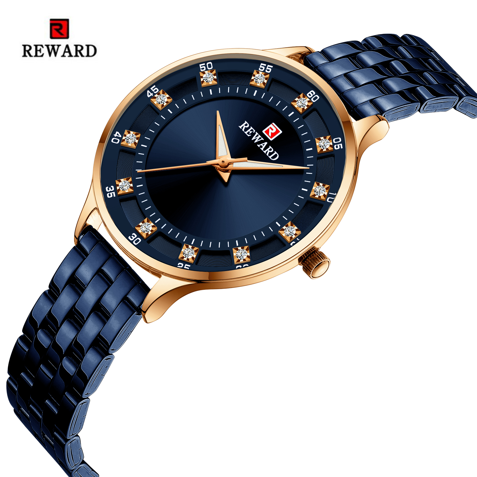 REWARD Fashion Simple Women Watches Top Brand Luxury Diamond Watch Women Stainless Steel Waterproof Clock Reloj Mujer