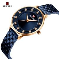BELOHNUNG Mode Einfache Frauen Uhren Top Marke Luxus Diamant Uhr Frauen Edelstahl Wasserdichte Uhr reloj mujer