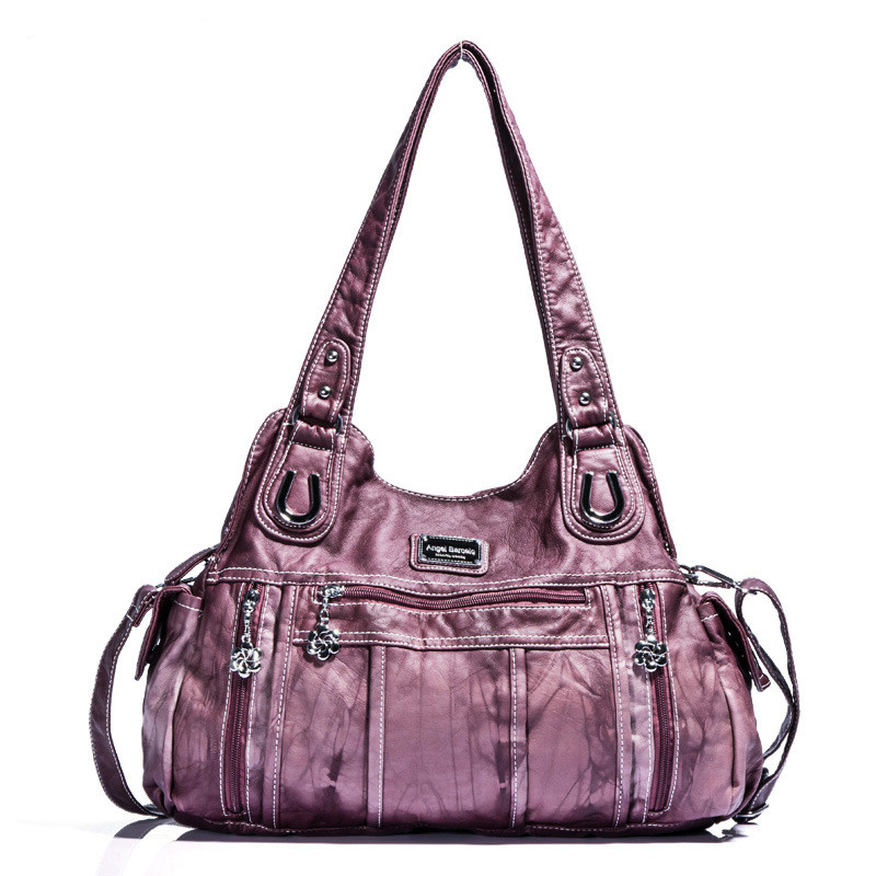Designer Women Washed PU Leather Large Capacity Zipper Shoulder Bags Smooth Crossbody Bags