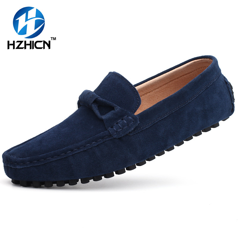 Genuine Leather Handmade Men Loafers Shoes Casual Men's Flats Design Man Driving Shoes Soft Bottom Leather Shoes Size 45-48 men s genuine leather casual shoes handmade loafers for male men waterproof flat driving shoes flats