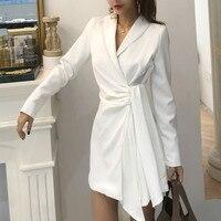 Women Blazer Dress 2018 Elegant Office Ladies White Suit Mini Dress Autumn Chic Long sleeve Business Blazer Vestidos Femal
