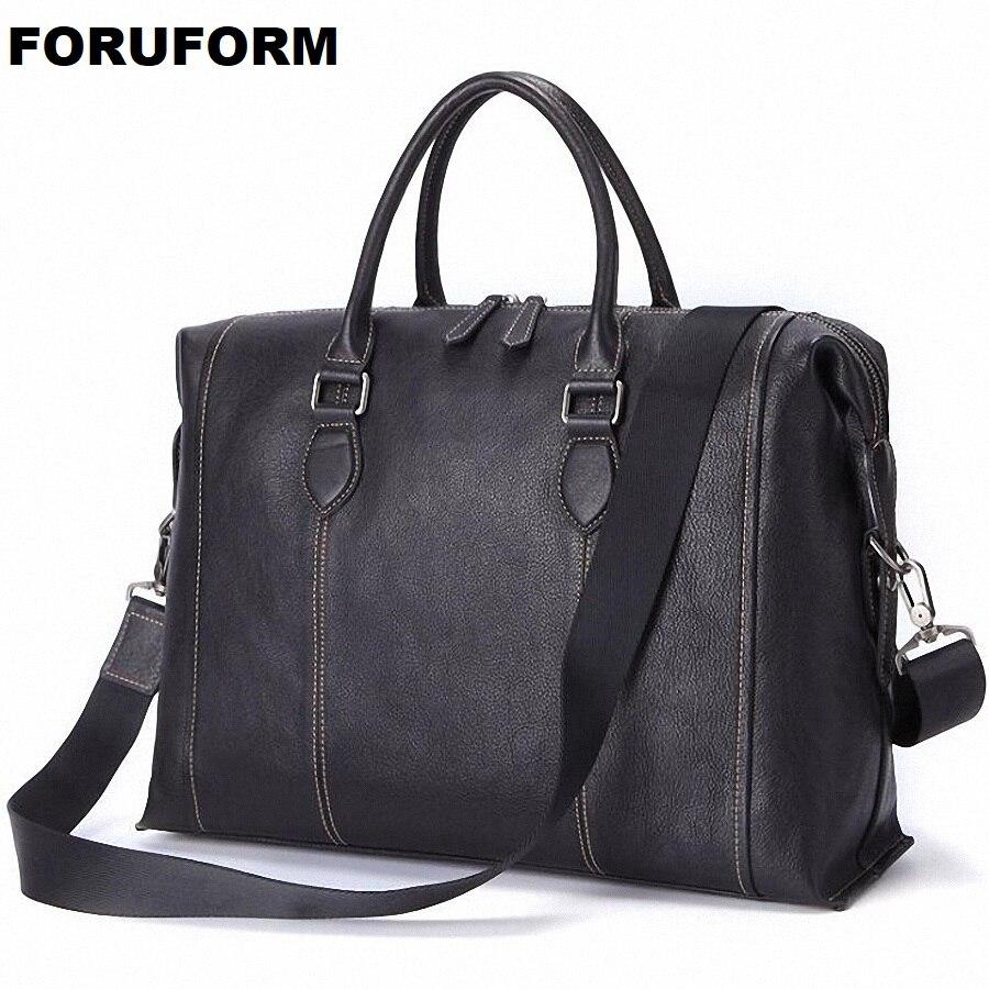 Genuine Leather Men Briefcases Laptop Casual Business Tote Bags Shoulder Crossbody Bag Men's Handbags Large Travel Bag LI-2458
