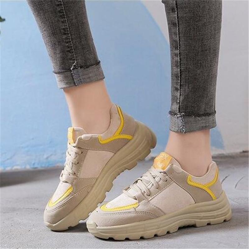 Spring Autumn 2019 Daddy shoes female new Walking shoes Sponge cake Thick bottom Student Genuine leather Leisure Tennis shoes 3