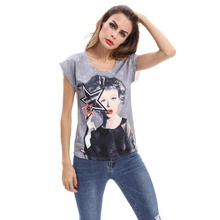 2017 Fashion Women Hit Color Print Short Sleeves T-Shirt Casual Polyester O-Neck Short Tops European Style Street Wears L2