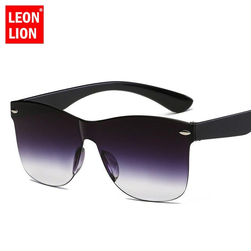 LeonLion 2019 One-piece Cat Eye Sunglasses Women/Men Gradient Lens Retro Mirror Rimless Sun Glasses Vintage Travel Eyewear UV400