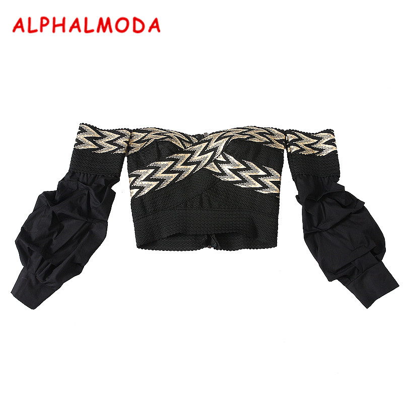 ALPHALMODA Puff Sleeve Bandage Top Ladies Autumn Fashion Clothing Top Back Zipper Slash Neck Slim Fit Stretchy   Blouse     Shirts