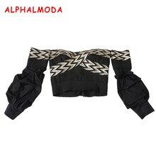 ALPHALMODA Puff Sleeve Bandage Top Ladies Autumn Fashion Clothing Top Back Zipper Slash Neck Slim Fit Stretchy Blouse Shirts