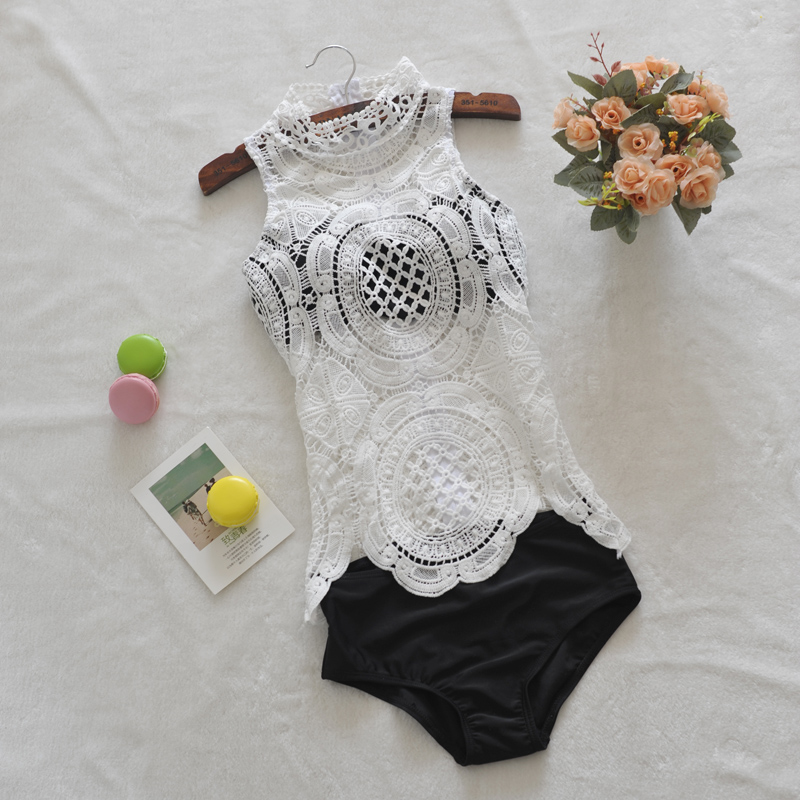Sexy Mesh Swimwear Women One Piece Swimsuit Lace Plus Size Bathing Suit Indoor Bather Bodysuit 2018 May Beach Push Up Swimming S