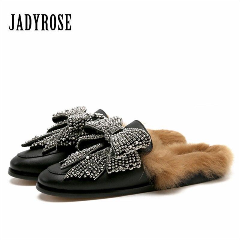 Jady Rose 2020 nouvelle mode femmes fourrure pantoufle automne hiver chaud plat chaussures femme strass nœud papillon diapositives femme Mules mocassins