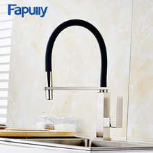 Fapully kitchen Taps Mixer 360 Degree Swivel 100% Solid Brass Single Handle Sink Faucets Nickel Brushed Kitchen