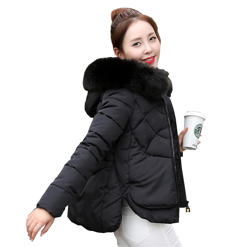 ФОТО new arrival winter padded short jacket women's thick warm loose plus size parka fashion female faux fur collar hooded coat kl613
