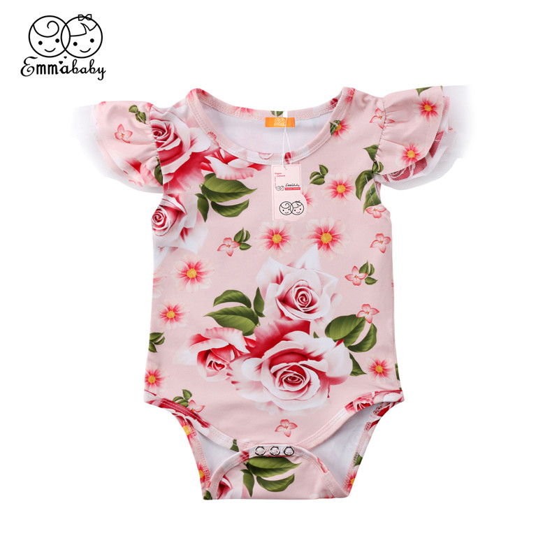 Lovely Baby Girls Clothes 2018 Summer Pink Newborn Baby Girl Flower Printed Bodysuit New Lace Fly-sleeve Bebes Jumpsuit Playsuit 2pcs set newborn floral baby girl clothes 2017 summer sleeveless cotton ruffles romper baby bodysuit headband outfits sunsuit