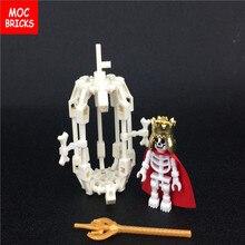 Кубики Moc DIY Белый Скелет клетка и король скелетов фигурка Обучающие строительные блоки игрушки для детей лучшие подарки