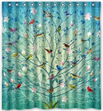 Custom Unique Design Birds On The Life Tree Decorative Pattern Waterproof Fabric Shower Curtain